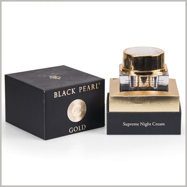 custom small square cardboard boxes for night cream packaging,The inside of the box is fixed with a Cato formed by gold cardboard to fix the night cream essence bottle