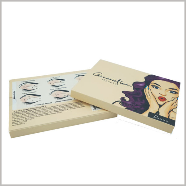 custom white makeup boxes for eye shadow packaging. The use method and promotional slogan of the eye shadow printed on the envelope of the eye shadow packaging play a role in explaining the product.