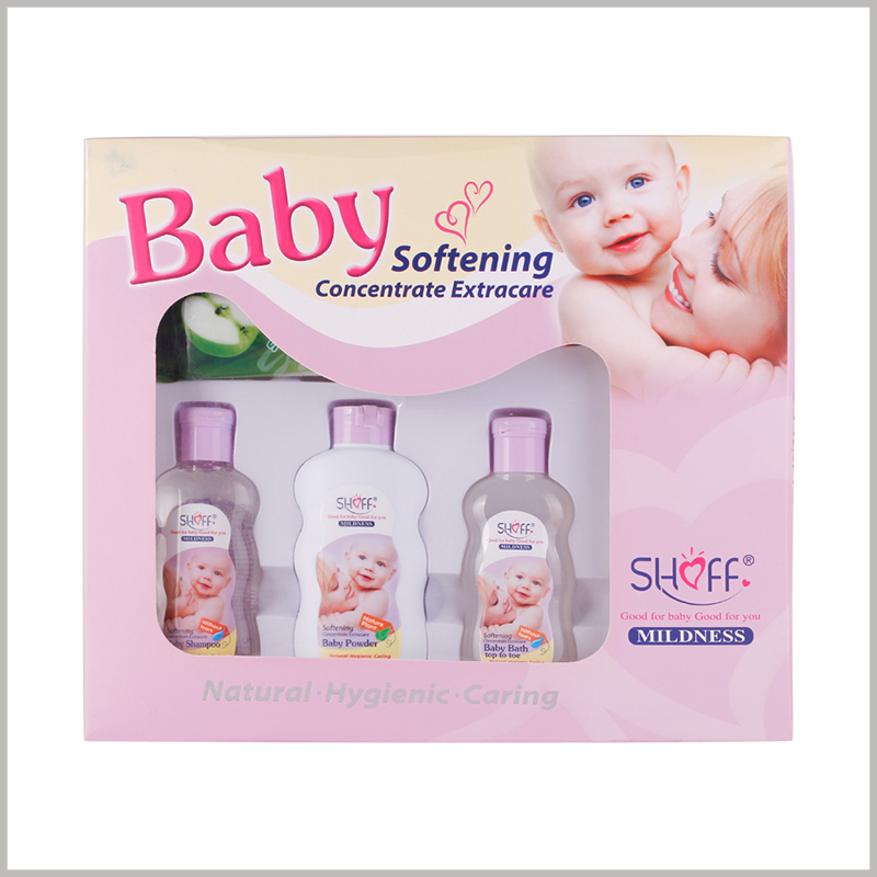 custom windows packaging for baby care products.The top of the customized package uses transparent pvc as the window, which can improve the visibility of the products inside the package.