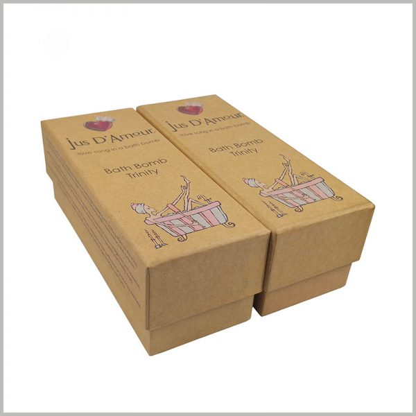 eco friendly kraft packaging for bath bombs. The customized kraft paper packaging is designed according to the bath ball bomb, which can promote the product and brand well.