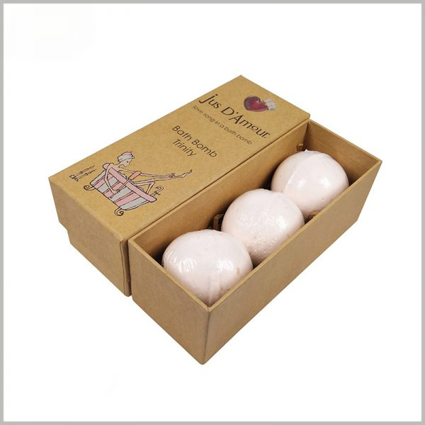 eco friendly kraft paper packaging for bath bombs. The kraft paper boxes with lids, and the top lid and the main part of the packaging can be completely separated.