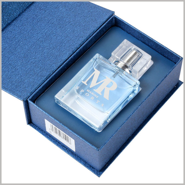 empty cardboard boxes for 50ml perfume bottle packaging. Dark blue is the theme of perfume packaging, and EVA is inserted inside the box to fix the perfume.