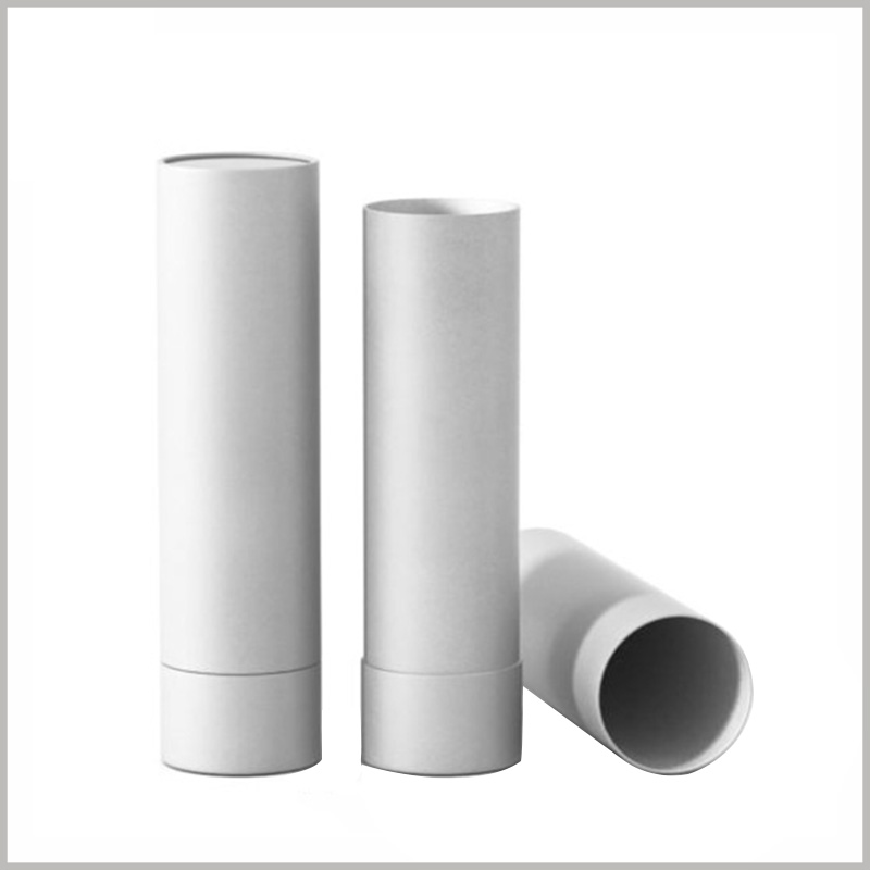 empty cardboard deodorant tubes packaging without printed. White cardboard tube packaging can be used as a variety of product packaging.