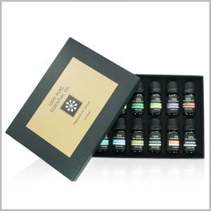 essential oil packaging with EVA insert for 12 bottles.The structure and size of the customized essential oil packaging are determined according to the needs of the product and can be fully customized.