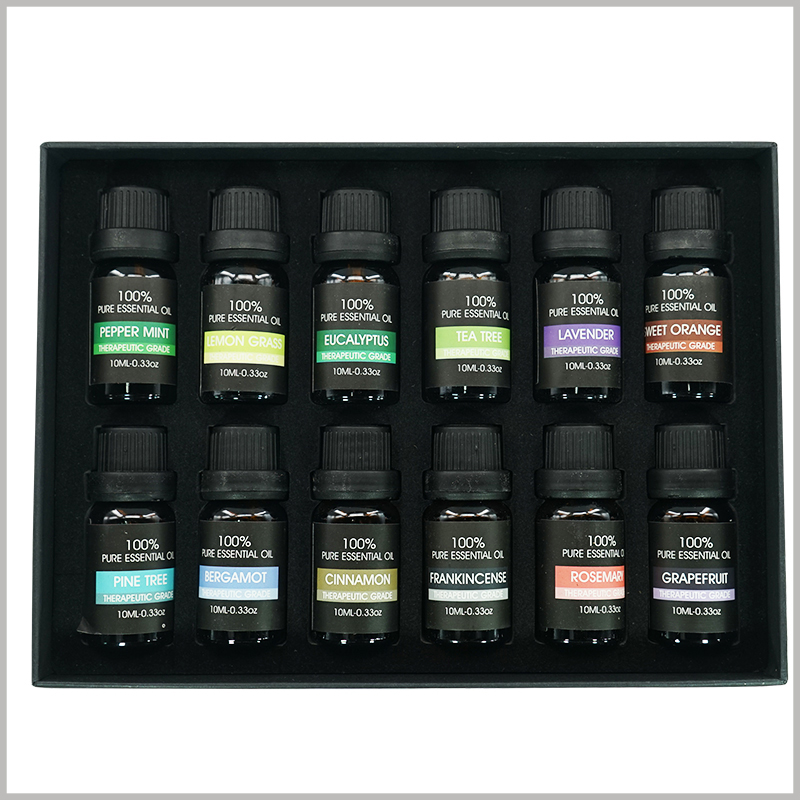 essential oil packaging with EVA insert. The 12 bottles of essential oils are arranged in 2 rows in the package, with 6 bottles in each row, neatly arranged.