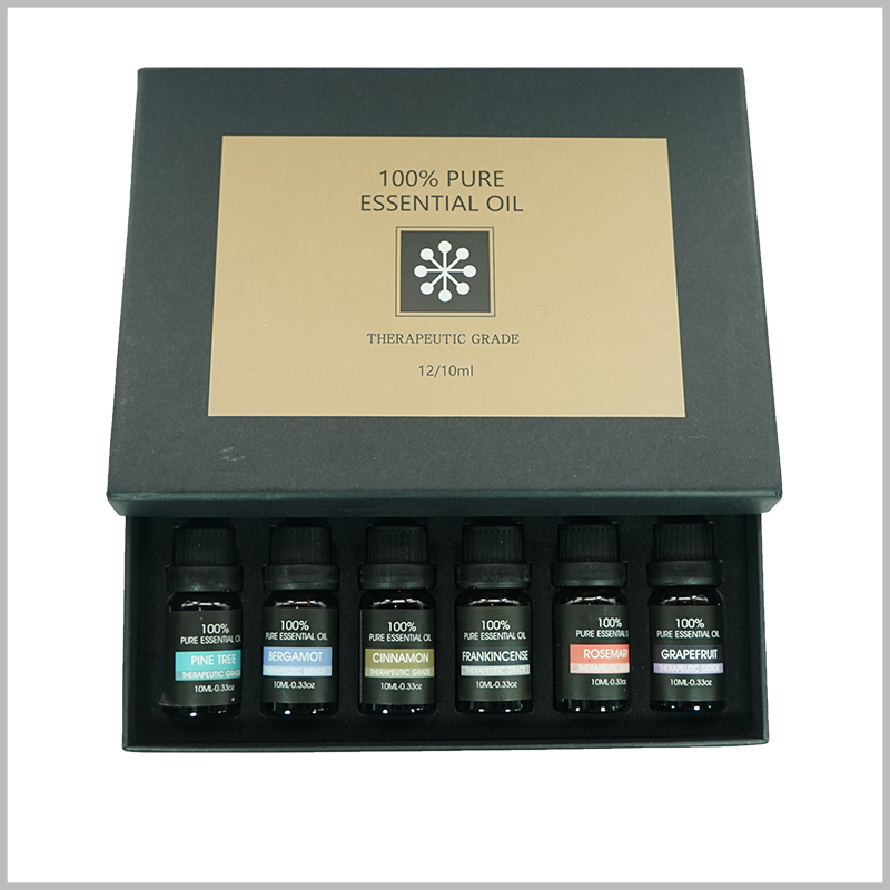 essential oil packagingboxes for 12 bottles.Customize the printing content on the top of the custom essential oil packaging cover, the main purpose is to promote the product and brand, and achieve differentiated marketing.