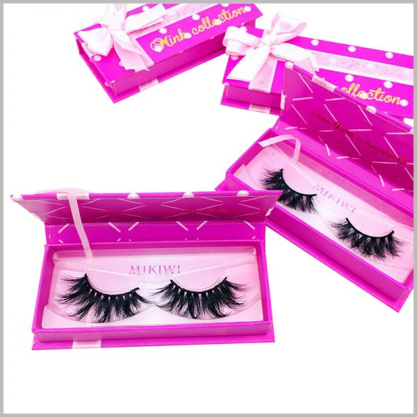 eyelash box packaging with ribbon. There is a printed art paper on the bottom of the blister tray to increase the aesthetics and publicity value of the bottom of the package.