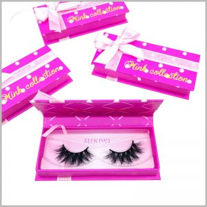 eyelash gift box packaging with ribbon. The cute beauty boxes increase the attractiveness and artistry of false eyelash products, which are very helpful to increase the value of the product.