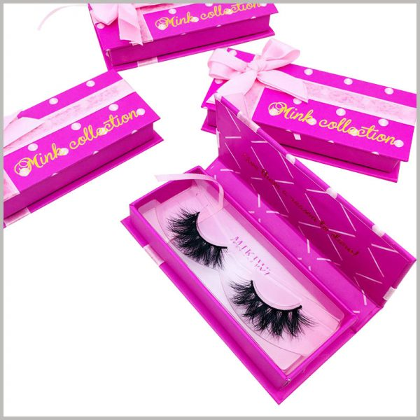 eyelash gift boxes packaging with ribbon. Hard cardboard gift boxes are one of the best choices for eyelash packaging. The size and printing content of the packaging can be customized