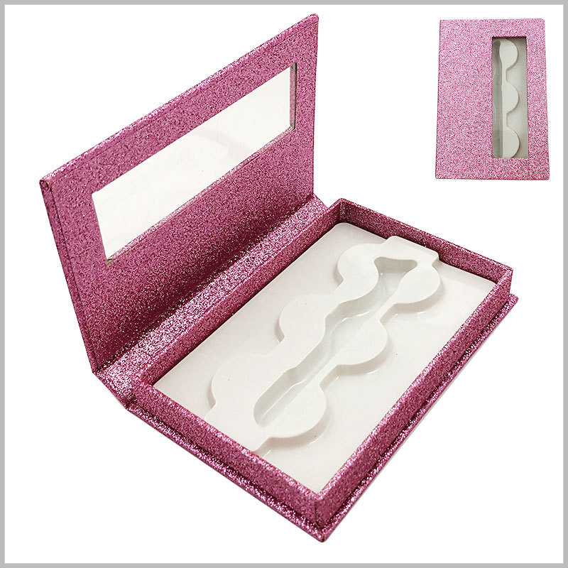 false eyelash packaing box with window for lot of 3 pairs. The purple cosmetic boxes packaging has a sense of fashion, which can increase or decrease the attractiveness of the product.