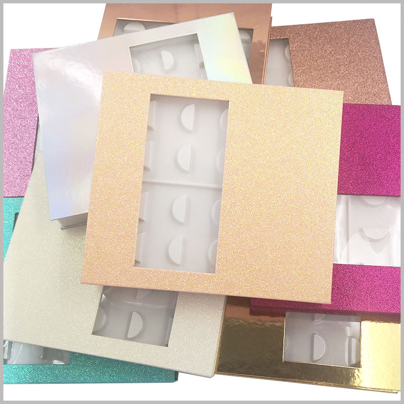 fashion False eyeslash packaging box with window for pack of 10 pairs. The high-end false eyelash packaging does not have any brand logo, and can be directly placed with the product for sale; or you can choose to customize the logo.