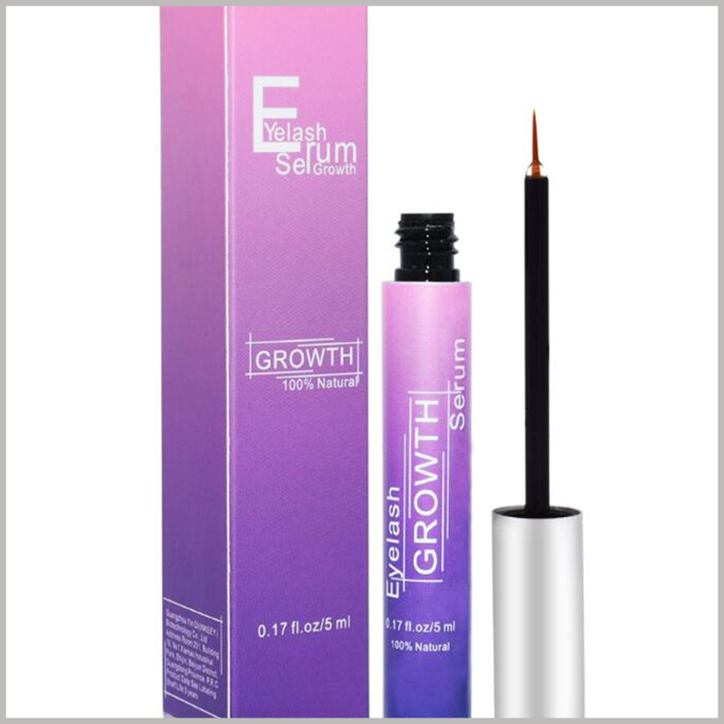 fashion cosmetic boxes packaging for eyelash growth serum. As the main element of the packaging design, gradient purple has a fashionable atmosphere, which improves the attractiveness of packaging and products.