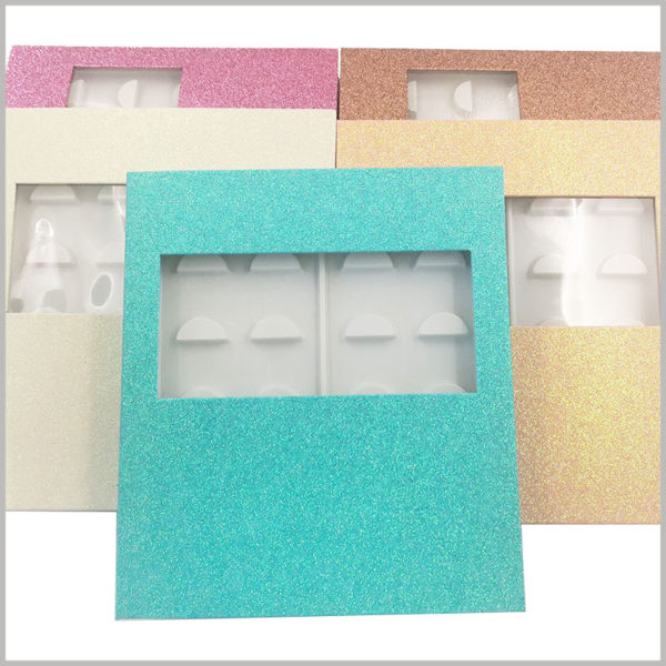 fashion eyeslash packaging box with window for pack of 10 pairs. Shiny and fashionable false eyelash packaging is one of the important ways to increase the attractiveness of products.