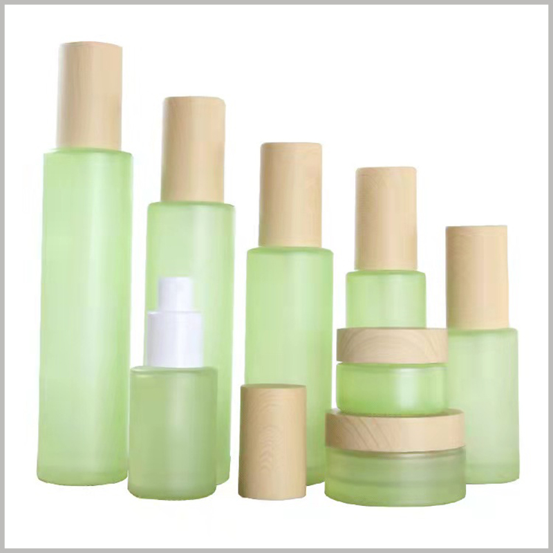 fashion green glass bottles for skin care products.Different skin care bottle shapes and sizes can meet different product volume requirements.