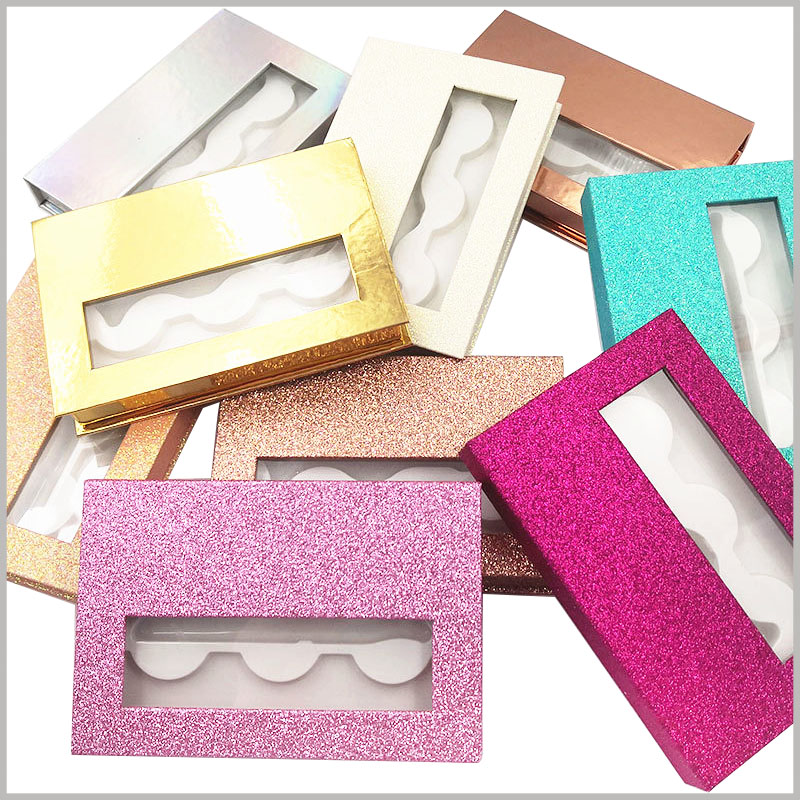 custom fashion shiny eyelash packaing box with window for lot of 3 pairs