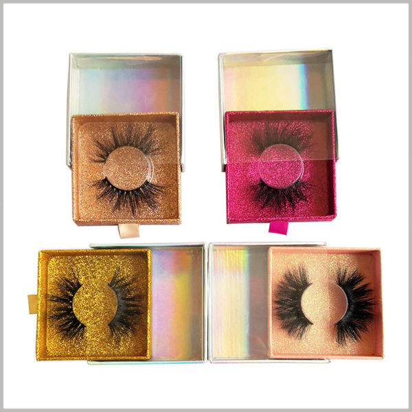 Custom fashion square cardboard drawer eyelash boxes with windows wholesale