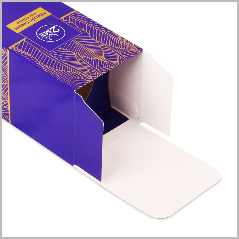 foldable allergic cream packaging box with logo wholesale.350g double copper paper is used as the raw material for custom packaging, printed on one side, and bright on the other side.