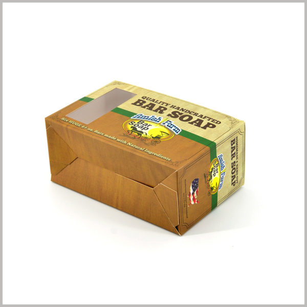 foldable soap packaging boxes wholesale. Brown and yellow are the main colors of packaging design, making soap boxes look more classic.