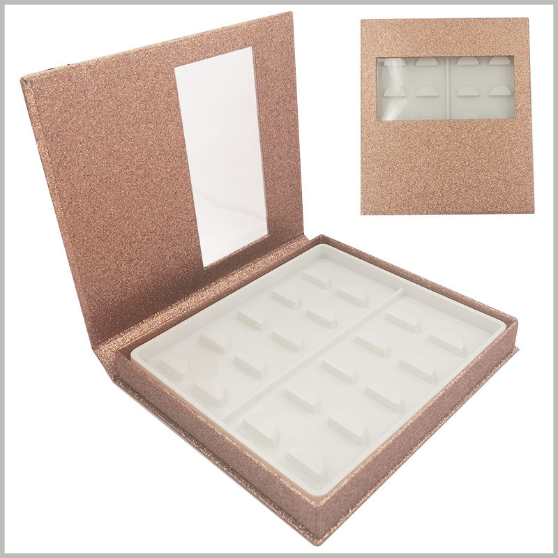 gold False eyeslash packaging box with window for pack of 10 pairs. The shiny golden cardboard packaging is equipped with a blister for fixing false eyelashes, which can be directly used to store and sell eyelash products.