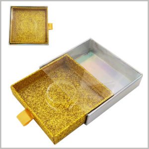 gold Glittering square cardboard drawer eyelash boxes with windows. The square false eyelash packaging takes up little space and is easy to carry and use.