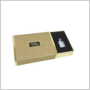gold cardboard boxes for 3 bottles of perfume,Perfume packaging uses cardboard box drawers to open the package. You only need to slide the inner box to open the package.