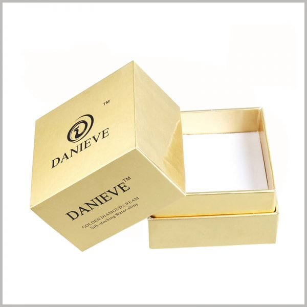 gold facial cream jar packaging boxes. The brand name and logo are located on the top and front of the packaging cover, which can expose the brand from multiple angles, which plays a good role in promoting the brand.