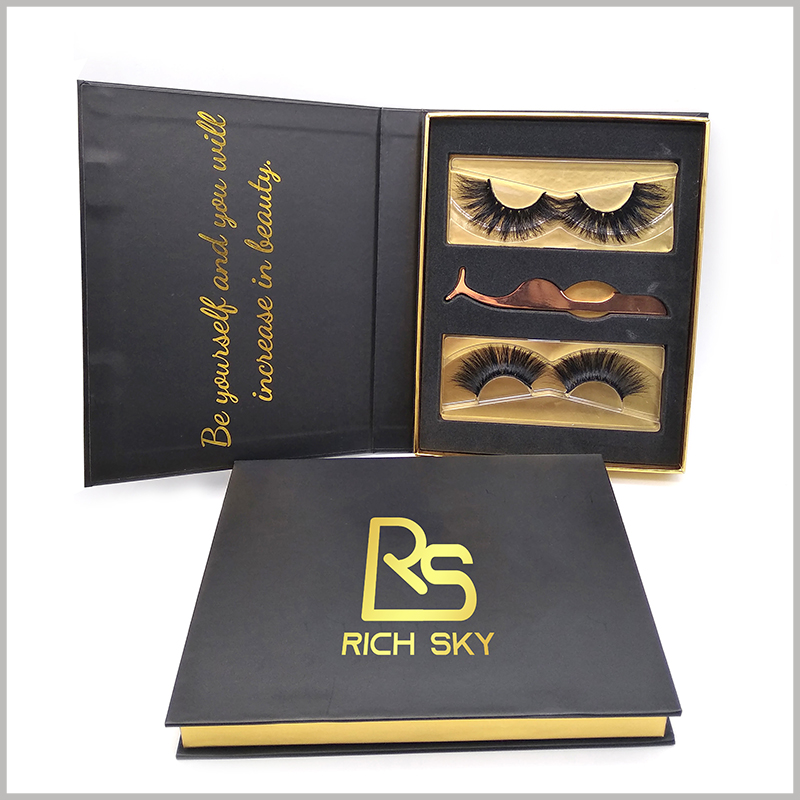 high end black cardboard packaging for eyelashes gift set,Bronzing printing on the front of custom boxes, which reflects the brand logo, name and promotional slogan that need to be displayed to consumers