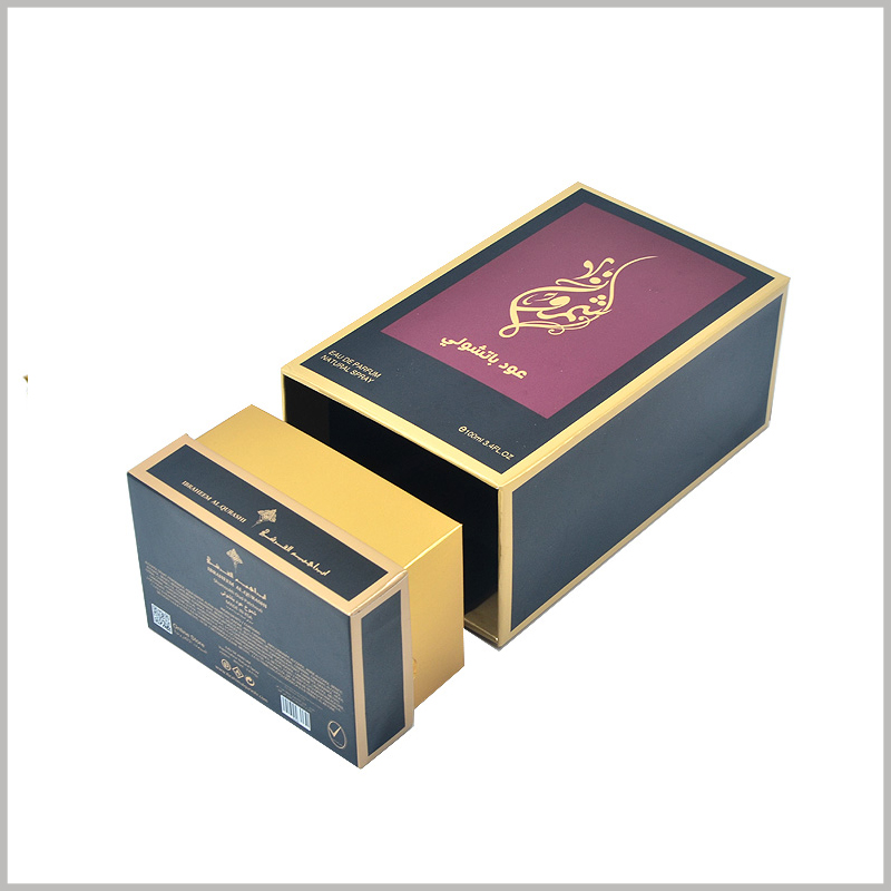 high-end 100 ml perfume gift boxes wholesale. The customized cosmetic packaging has a compact structure and a unique design, which can well reflect the value of perfume.