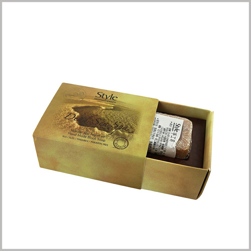 high-end Small drawer packaging for single soap boxes.The high-end box has a brown appearance, and the inner tray formed by cardboard is used to fix the handmade soap.