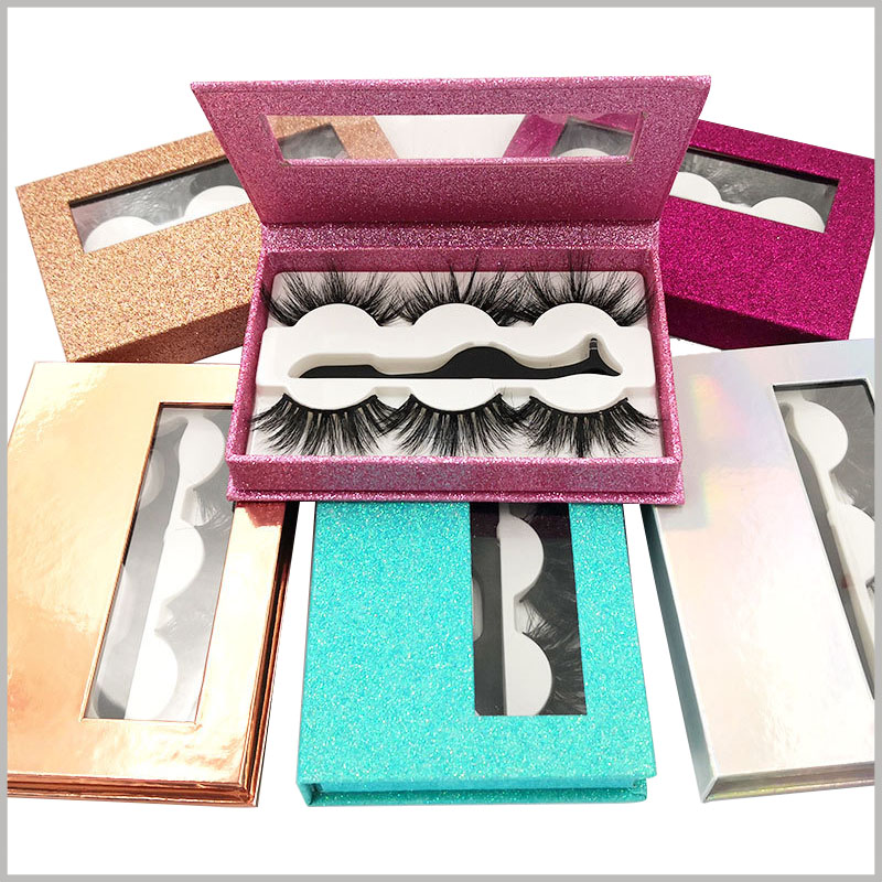 high end shiny eyelash packaing box with window for lot of 3 pairs