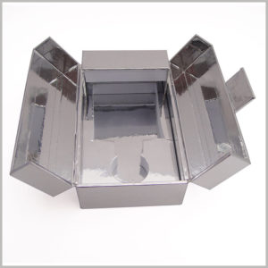 highend silver cardboard box for perfume packaging, The EVA laminated sliver cardboard inside the cardboard package guarantees the overall color consistency and high-grade of the package.
