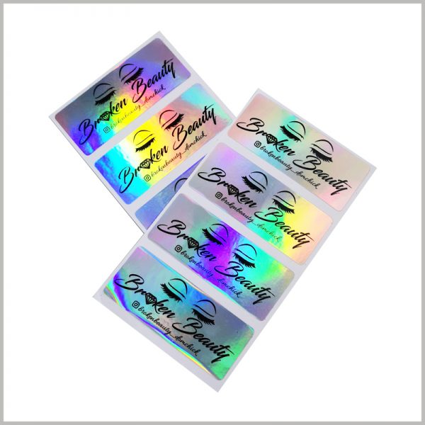 hologram labels for eyelash boxes.The customized false eyelash packaging label is cost-effective and can quickly promote the product.