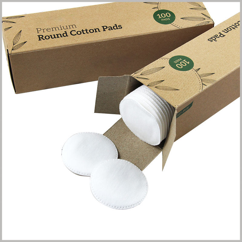 kraft paper cotton pads box wholesale. 350gm kraft paper is the only raw material for packaging, giving the cotton pad packaging a foldable feature.