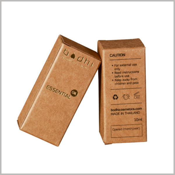 kraft paper packaging for 10ml essential oil boxes. In addition to the brand information formed by bronzing printing, the customized essential oil packaging also has detailed information formed by CMYK printing.