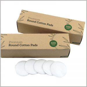 kraft paper packaging for cotton pads box. The specific product information is printed on the packaging, and customers can expressly understand the products and make purchasing decisions.