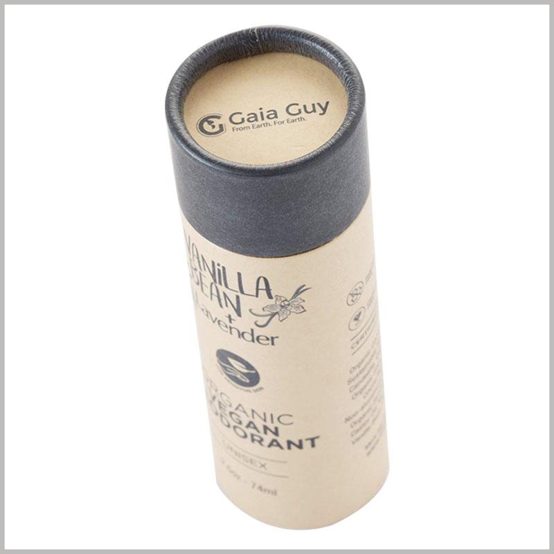 Custom kraft tube for 74ml deodorant packaging. Custom tube packaging is based on deodorant capacity to determine the diameter and height.