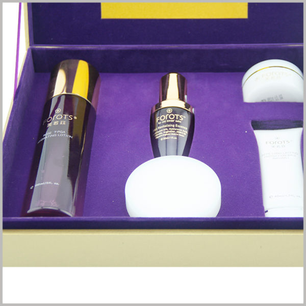 Custom large cardboard boxes packaging for skin care boxes, The inside of the custom box has EVA inserts to protect the skin care products and maintain a good display of skin care products.