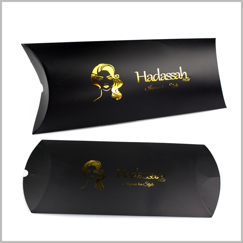 "luxury black hair extension packaging with bronzing.Black pillow boxes packaging bronzing printed ""wig"" product name, style picture of printed wig"