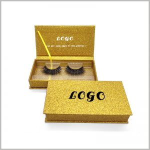 luxury cardboard boxes for eyelash packaging.Gold cardboard and U gold powder make the packaging very luxurious, and consumers will think that the packaging and eyelashes are both high-end and valuable.