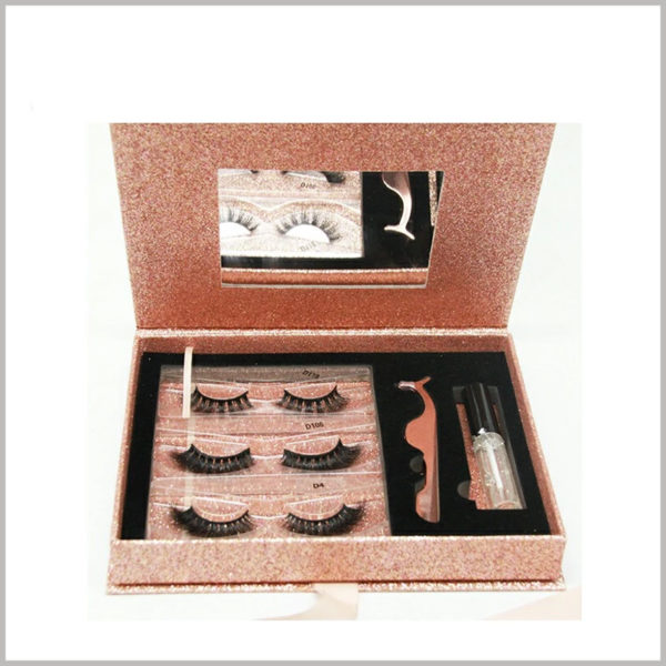 luxury eyelash packaging boxes set with mirror.The inside of the cosmetic boxes has a mirror, which is very practical and will become an important factor influencing the purchase of eyelashes by customers.