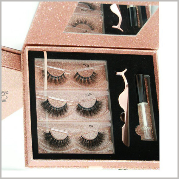 luxury eyelash packaging boxes set with mirror wholesale,The inside of the gift boxes can hold three different types of eyelashes, which are fixed with clear blister.
