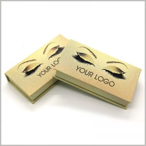 luxury gold cardboard eyelashes boxes packaging.Creative eyelash packaging design, printing eyes, eyelashes and eyebrows on special gold cardboard, is like a pair of eyes in custom boxes, making the packaging creative and attractive.
