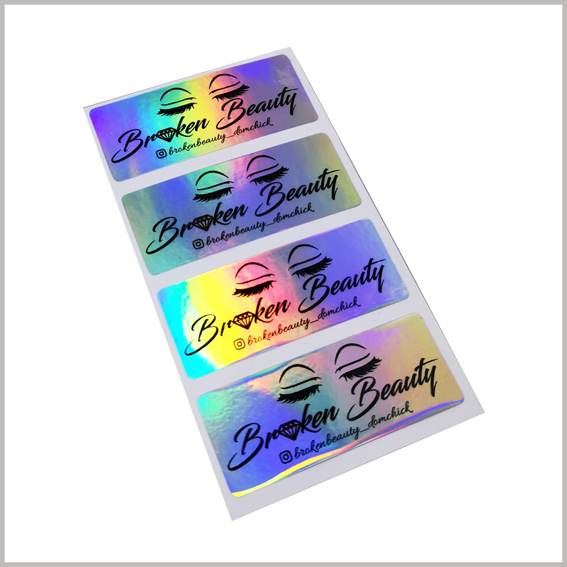 luxury hologram labels for eyelash packaging.Customized false eyelashes packaging labels can be printed with unique content to distinguish them from other brands.