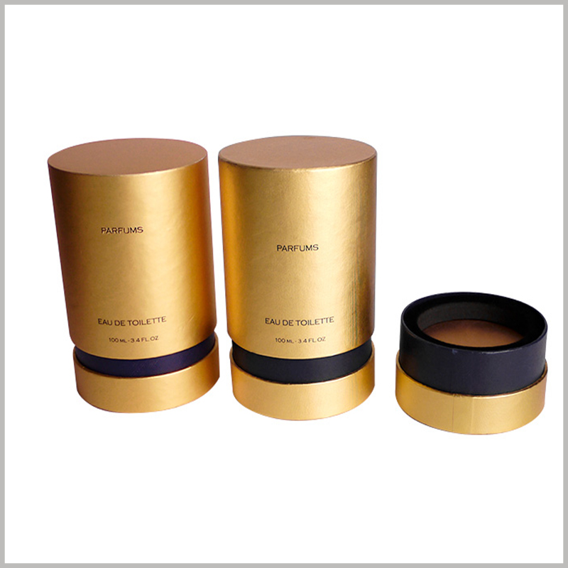 luxury perfume packaging tubes.The customized perfume packaging tube has a golden visual sense, which enhances the attractiveness of the packaging and the product.
