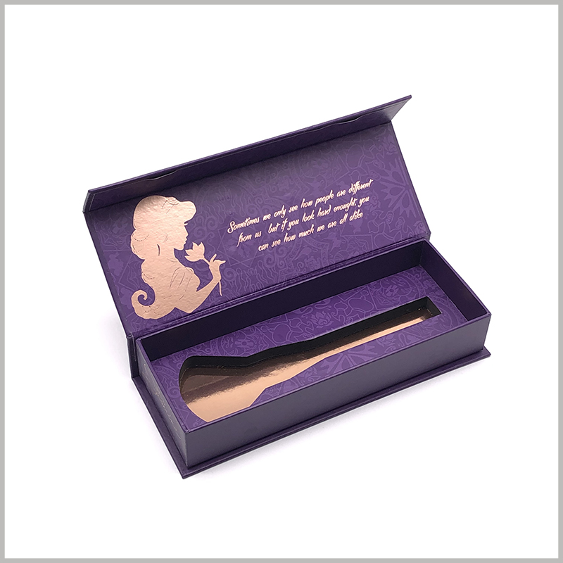 luxury single makeup brush packaging. The inside of the cover of the customized cosmetics package has patterns and text messages formed by bronzing printing, which is more conducive to product promotion.