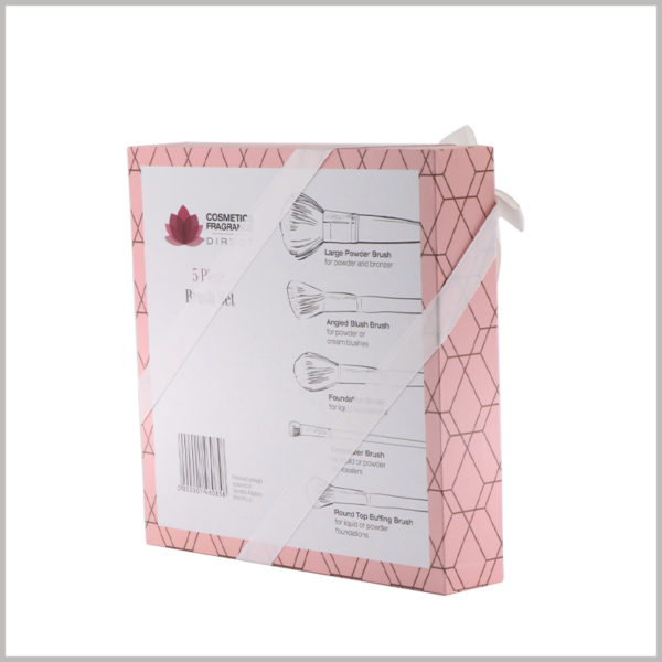 makeup brushes gift packaging boxes with windows. On the back of the cosmetic packaging boxes, detailed information about the size, characteristics and usage of different cosmetic brushes is printed.