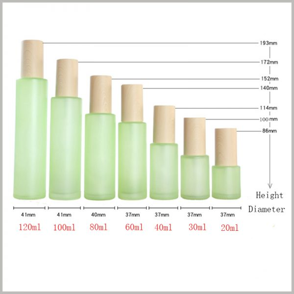order green glass bottles for skin care products.You can understand the capacity of different bottles through the content shown in the chart.