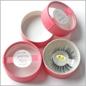pink false eyelash packaging box with windows,The whole is made of tender pink thick coated paper, which is a cute little box packaging style that girls like very much.