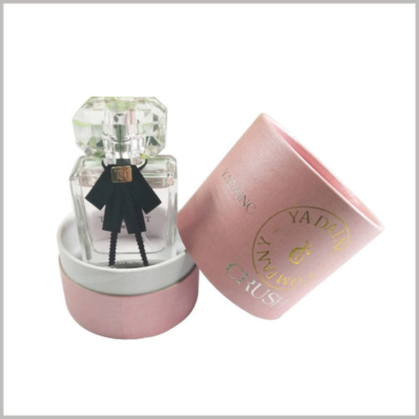 pink small cardoard tube cosmetic packaging for perfume,The background color is a girly champagne pink, which looks pink and high-grade overall.
