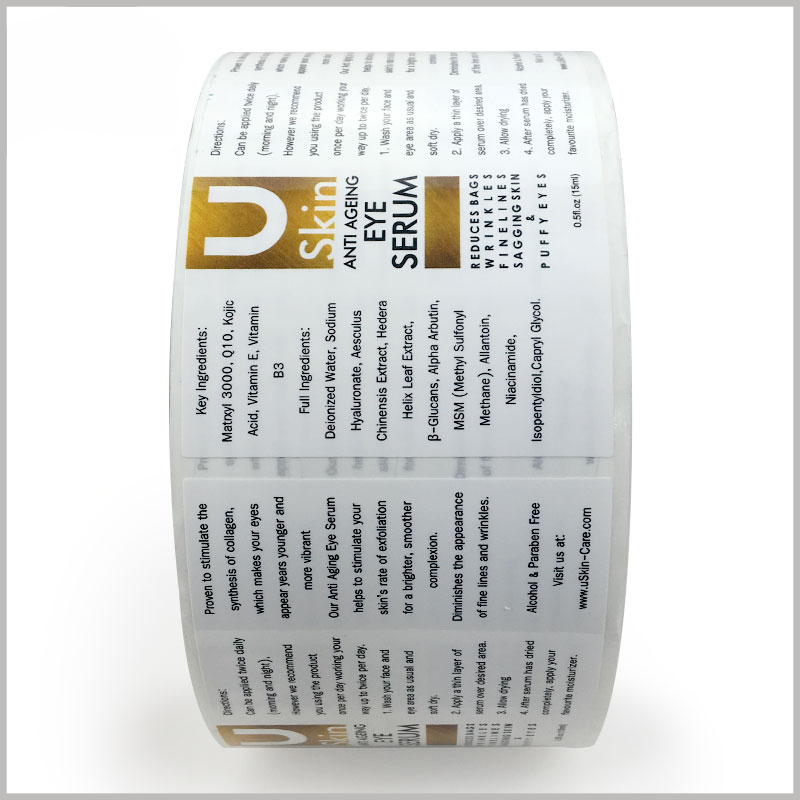 printed skin care product labels custom. Customized labels can use CMYK printing, emboss printing, etc. to make skin care product labels unique and attractive.